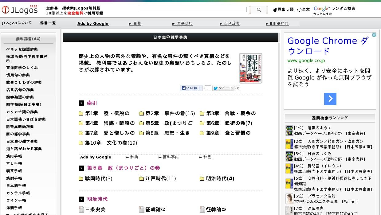 日本史の雑学事典>第5章 政(まつりごと)の巻>明治時代