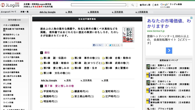 日本史の雑学事典>第7章 愛と憎しみの巻>平安時代