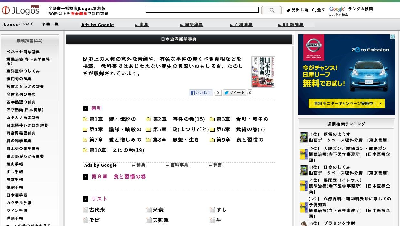 日本史の雑学事典>第9章 食と習慣の巻>リスト
