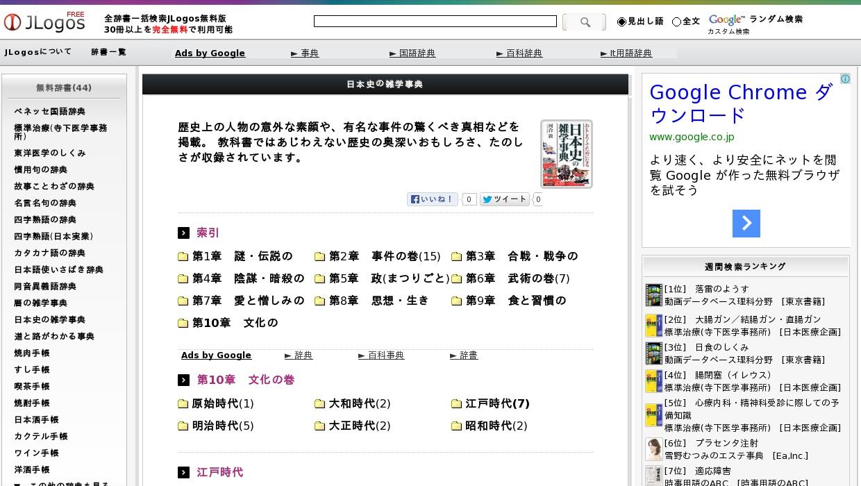 日本史の雑学事典>第10章 文化の巻>江戸時代